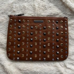 REBECCA MINKOFF Studded brown leather clutch